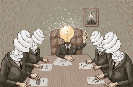 board room: Hand-drawn business meeting.  Illustration