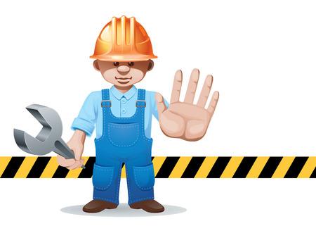 prohibits: Prohibits passing construction worker.