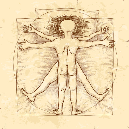 uomo vitruviano: Coppie che si trovano a letto. Vettoriali