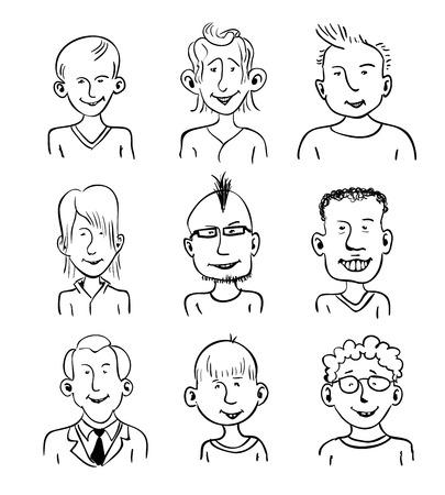 dibujos lineales: Conjunto de nueve caras sonrientes de dibujos animados. En blanco y negro