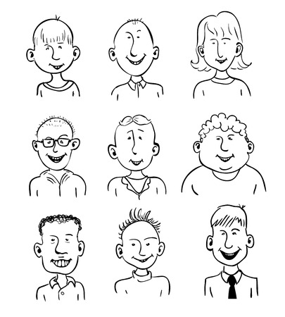 Set of nine smiling cartoon faces. Black and white Vector