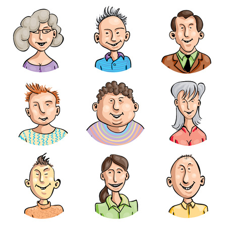 caricature woman: Set of nine smiling cartoon faces.