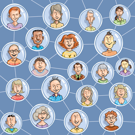 Social network of smiling young people.  Illustration