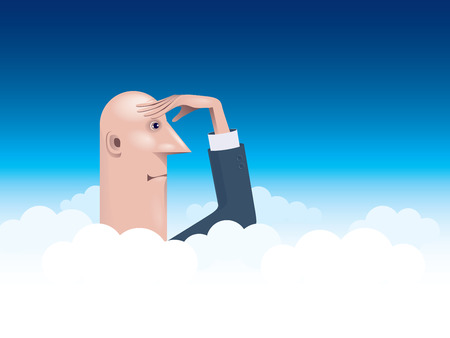 viewing angle: Businessman towering above the clouds looking into the distance.  Illustration
