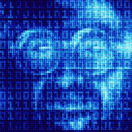 security staff: Hacker reflected in the screen with binary code. Illustration
