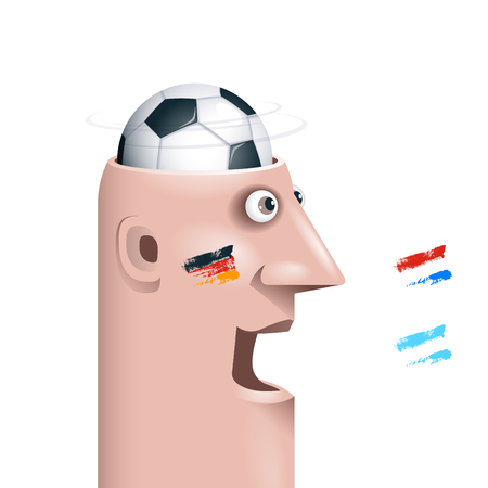 34: Soccer fan with ball in head.  Illustration