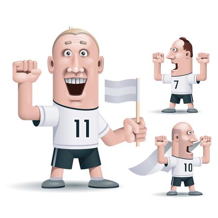 soccer fans: Three soccer fans.  Illustration