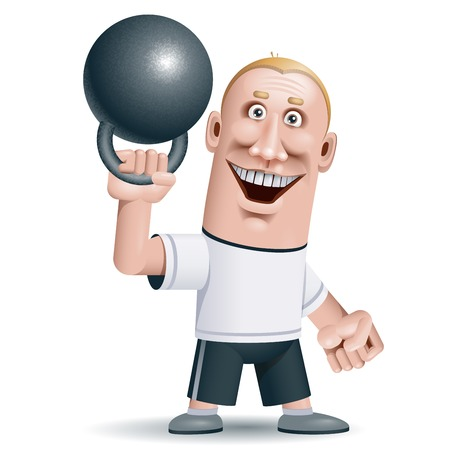 kettle bell: Man lifting kettle bell.