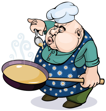 commercial kitchen: Fat cook with a pan.  Illustration