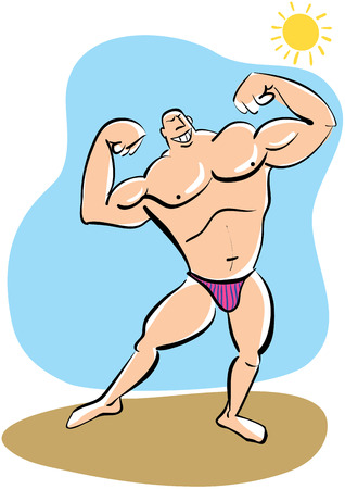 deltoid: Cartoon muscleman showing his biceps. Illustration