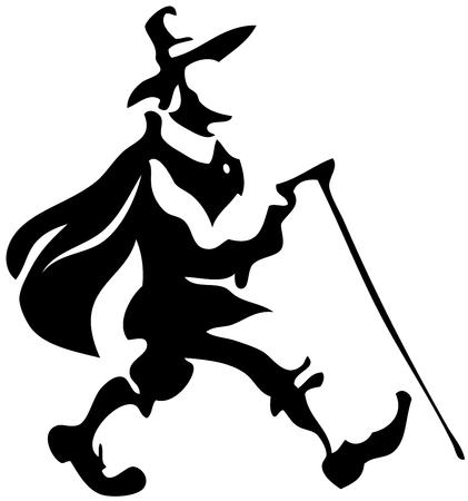 pilgrim: Walking pilgrim silhouette.  Illustration
