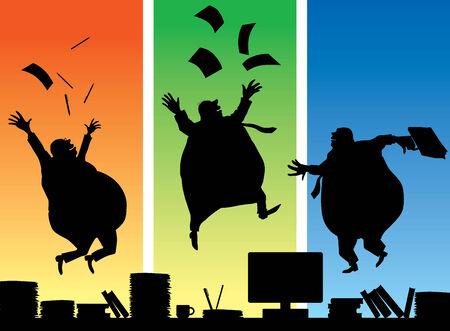pot belly: Three jumping fat businessman.