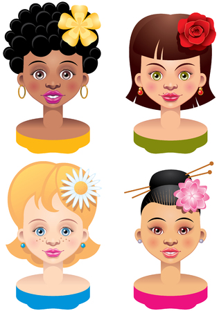 african descent: Four different Ethnicities girls heads.