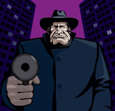 Gangster pointing gun.