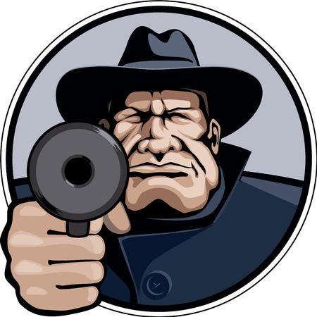 organized crime: Gangster pointing gun. Illustration