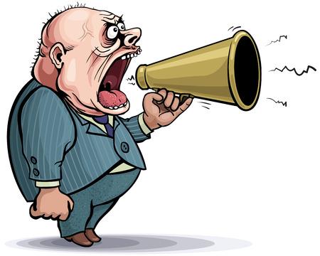 declare: Loud cartoon man with bullhorn. Illustration
