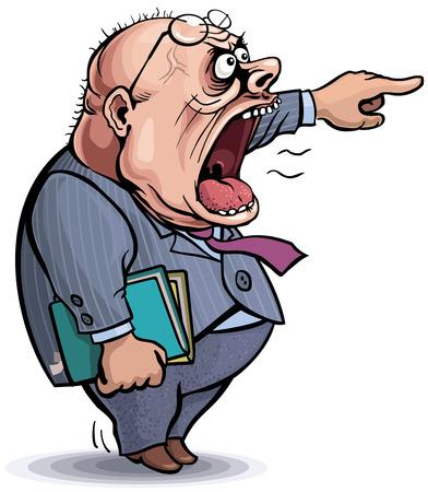 using mouth: Angry cartoon man.