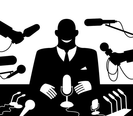 one on one meeting: Public Speaker at conference meeting.  Illustration