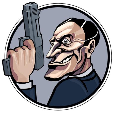 Cartoon gangster with gun.