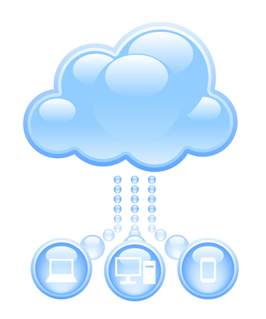 Blue cloud with computer icons isolated on white. Eps8 RGB Organized by layers Gradients used Vector