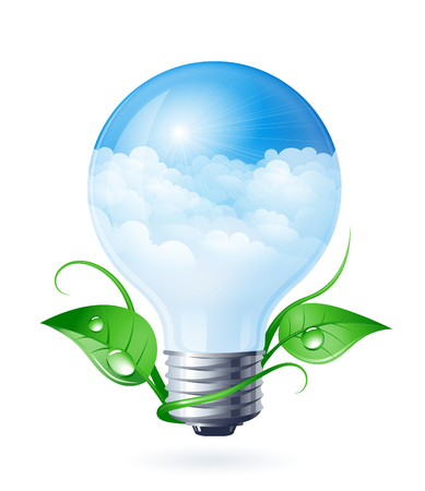 Light bulb with clouds and green leafs. Eps10. RGB. Gradients used. Organized by layers. Used transparency and blend modes different from normal. Vector