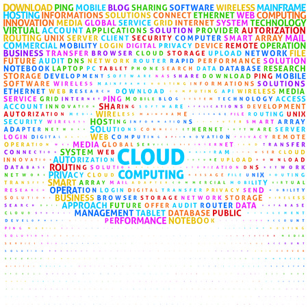 Cloud computing concept in word cloud. Eps8. RGB. Global color. Gradients free. Vector