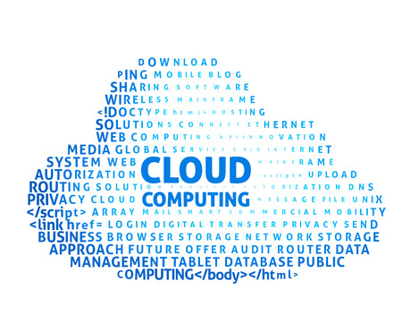 Cloud computing concept in word cloud. Eps8. RGB. Global colors. Gradients used. Vector