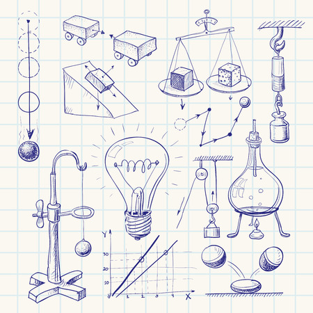 caida libre: Garabato dibujado a mano la física. Eps8. CMYK. Organizado por capas. Mundial de colores. Degradados gratuitas.
