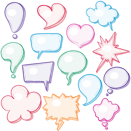 Hand-drawn speech bubbles. Eps8. CMYK. Organized by layers. Global colors. Gradients free. Vector