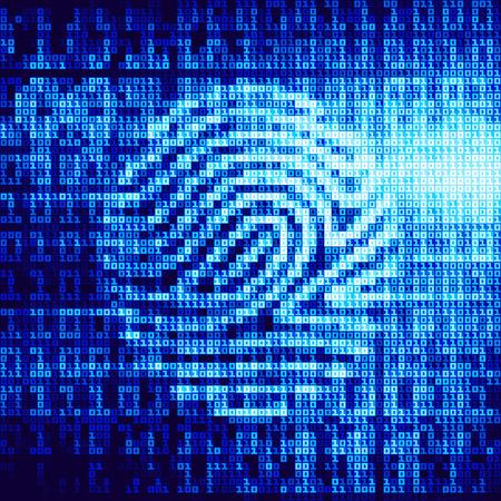 dactylogram: Digital fingerprint identification system. Eps8. RGB. Global colors. Gradients used.