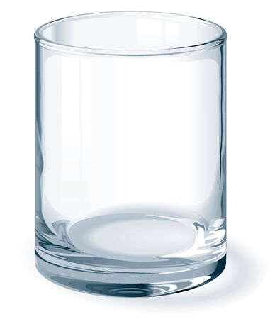 photorealism: Isolated on white clean empty glass. One global color. Gradients used. No mesh. Eps8. CMYK. Organized by layers. Easy change height of glass.
