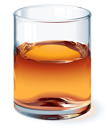 photorealism: A highball glass of whiskey isolated on white. One global color for glass and three colors for liquid. Gradients used. No mesh. Eps8. CMYK. Organized by layers. Easy change height of glass. Illustration