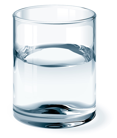 Glass of water isolated on white. One global color for glass and three colors for liquid. Gradients used. No mesh. Eps8. CMYK. Organized by layers. Easy change height of glass.  イラスト・ベクター素材