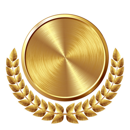 Gold brushed medal with wreath. Eps8. CMYK. Global colors. Organized by layers. Gradients used. Stock Illustratie