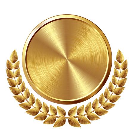 Or brossé médaille avec couronne. Eps8. CMJN. Couleurs globales. Organisé par couches. Dégradés utilisés. Banque d'images - 32851758