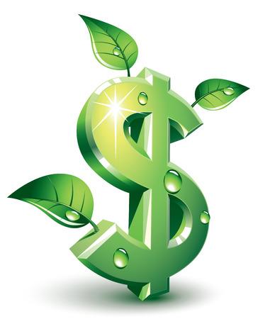Vert signe de dollar avec des feuilles vertes. Eps8. CMJN. Organisé par couches. Couleurs globales. Dégradés utilisés. Banque d'images - 32851777