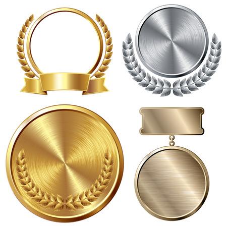 Ensemble de médailles d'or, d'argent et de bronze. Eps8. CMJN. Organisé par couches. Couleurs globales. Gradients utilisés. Banque d'images - 32851826