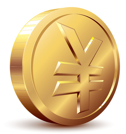 japanese currency: Gold coin with yen symbol. Eps8. CMYK. Organized by layers. Global colors. Gradients used.