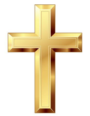 Gouden kruis. Eps8. CMYK. Georganiseerd door lagen. Global kleuren. Gradiënten gebruikt Stockfoto - 32851870
