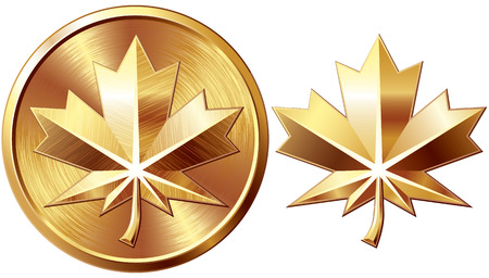 Two gold maple leaf isolated on white. Eps8. CMYK. Organized by layers. Global colors. Gradients used. Vector