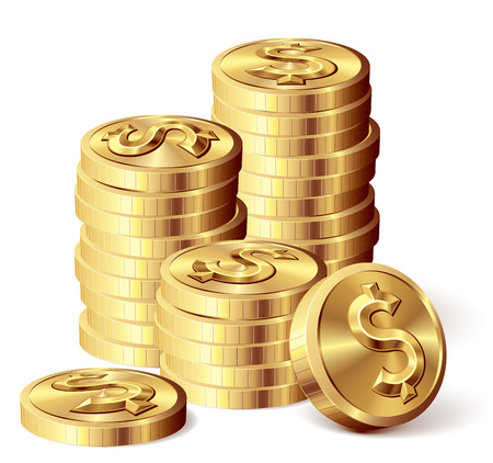 Gold coins with dollar sign. Eps8. CMYK. Organized by layers. Global colors. Gradients used. Stock Illustratie