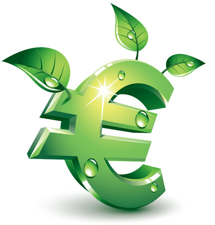 Green euro sign with green leaves. Eps8. CMYK. Organized by layers. Global colors. Gradients used.