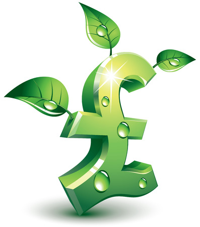 currency symbol: Pound symbol with green leaves. Eps8. CMYK. Organized by layers. Global colors. Gradients used.