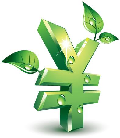 yen sign: Yen firma con hojas verdes. Eps8. CMYK. Organizado por capas. Mundial de colores. Los degradados utilizados.