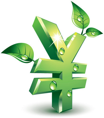 new account: Yen sign with green leaves. Eps8. CMYK. Organized by layers. Global colors. Gradients used. Illustration