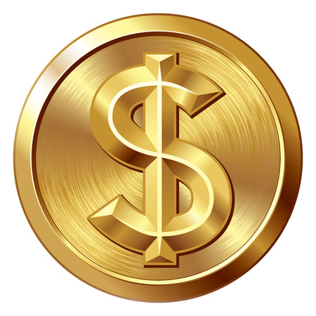 Gold coin with dollar sign. Eps8. CMYK. Organized by layers. Global colors. Gradients used. Stock Illustratie