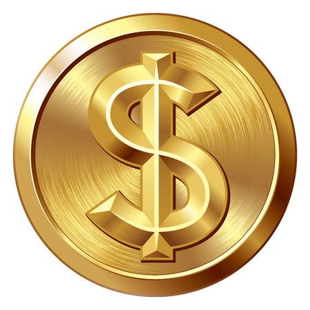 signos de pesos: Moneda de oro con el signo de dólar. Eps8. CMYK. Organizado por capas. Mundial de colores. Gradientes utilizado. Vectores