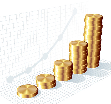 coin stack: Bar graph from gold coins. Eps8. CMYK. Organized by layers. Global colors. Gradients used. Illustration