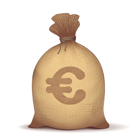 burlap sack: Money back with euro symbol on white background. Eps8. CMYK. Organized by layers. Global colors. Gradients used. Illustration