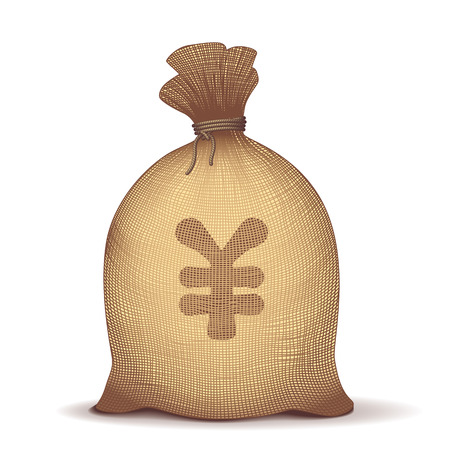 burlap sack: Money back with yen sign on white background. Eps8. CMYK. Organized by layers. Global colors. Gradients used. Illustration